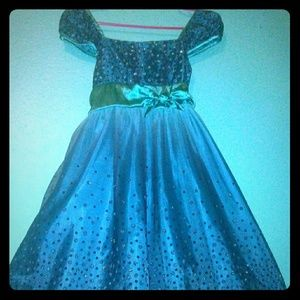 Pretty girls ombre teal sparkly tea length dress